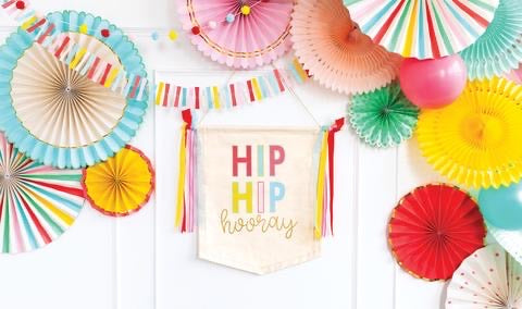 Hip hip hooray canvas banner