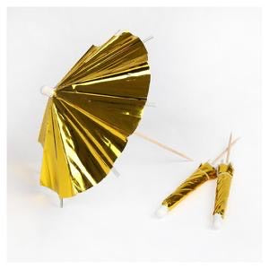 Gold long cocktail umbrellas - Meri Meri