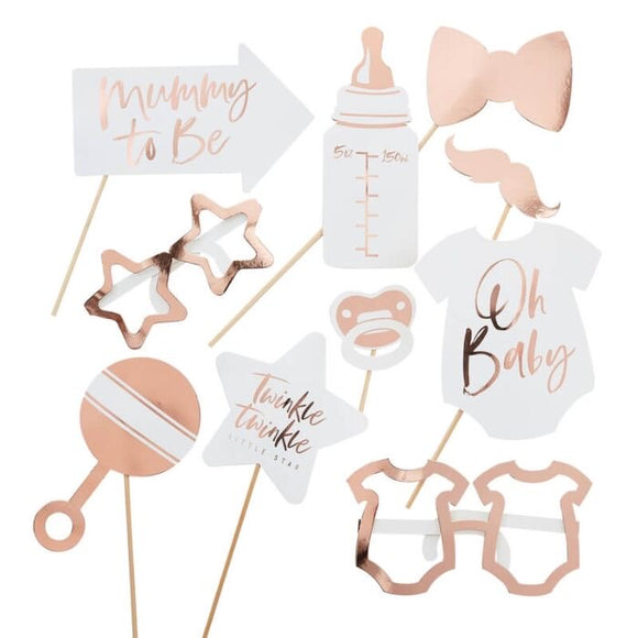 Rose gold baby shower photo booth props