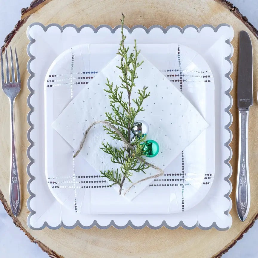 Winter white silver plaid plates