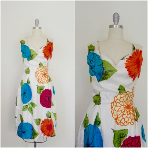 Vintage 1950s Mollie Parnis Floral Printed Silk Dress - Vintage World Rocks - 1