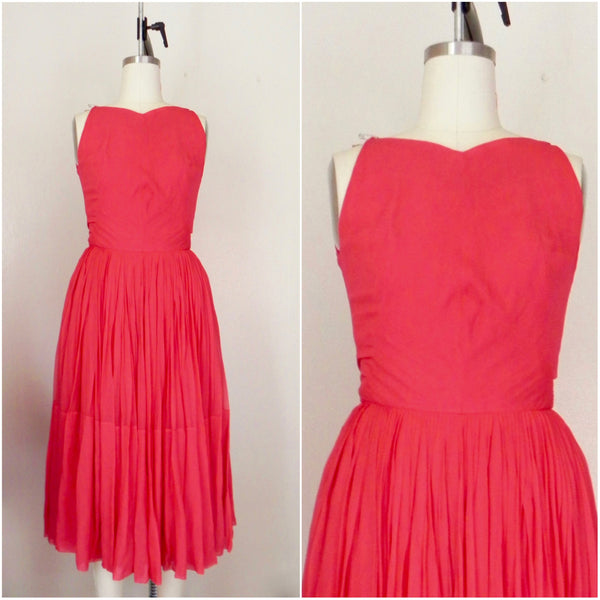 Vintage 1960s Red/Salmon Silk Chiffon Dress - Vintage World Rocks - 1