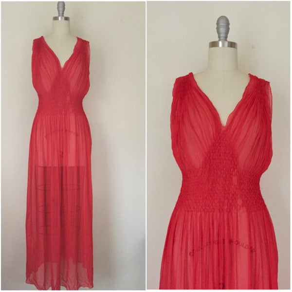 Vintage Red Chiffon Gown/Negligee AS IS - Vintage World Rocks - 1