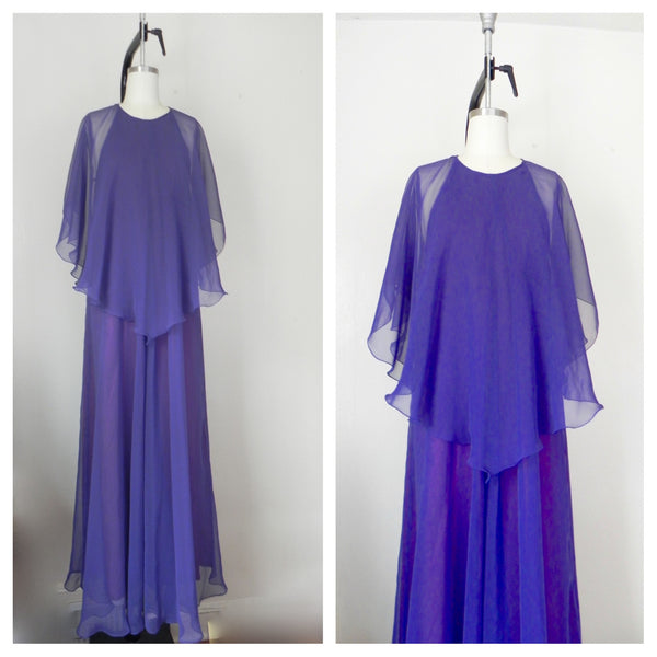 Vintage 1970s Jean Varon Plum Chiffon Evening Gown - Vintage World Rocks - 6