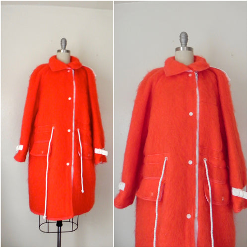 Courreges Red Mohair Car Coat - Vintage World Rocks - 1