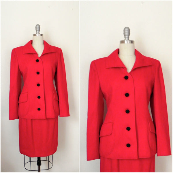 Vintage 1980s Valentino Red Corded Wool Skirt Suit - Vintage World Rocks - 1