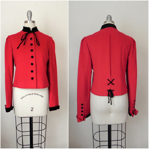 Vintage Valentino Red Wool Crop Jacket - Vintage World Rocks - 1
