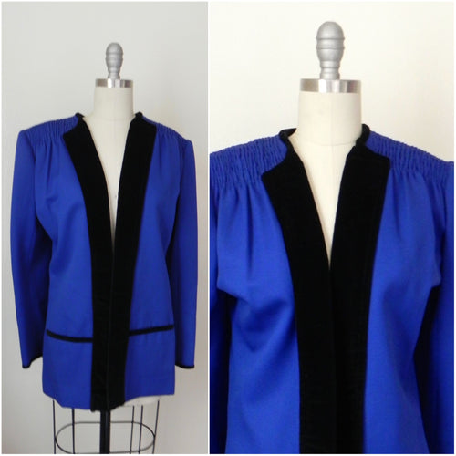 Vintage 1980s Valentino Cobalt Blue Wool Evening Jacket - Vintage World Rocks - 1