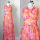 Vintage 1970s Sleeveless Orange Floral Dress - Vintage World Rocks - 1