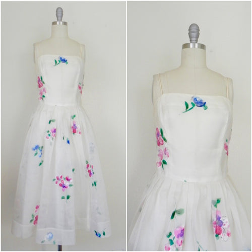 Vintage 1950s Madalyn Miller Hand Painted White Organza Dress - Vintage World Rocks - 1