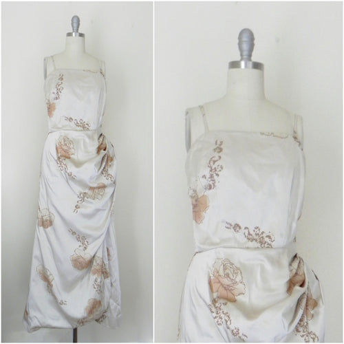Vintage 1960s-1970s Long Beige Floral Gown - Vintage World Rocks - 1
