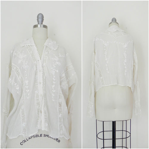 Edwardian Lace Embroidered Blouse - Vintage World Rocks - 2