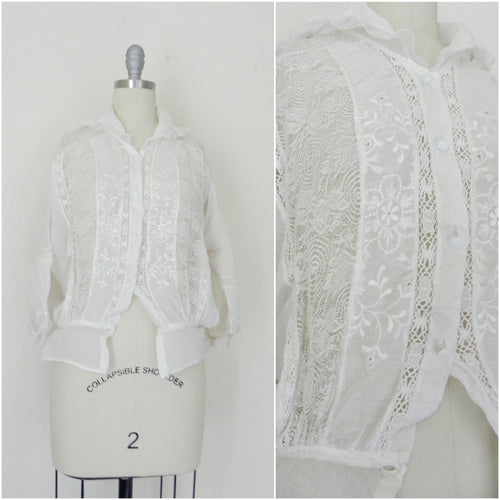 Edwardian Lace Cotton Top Blouse - Vintage World Rocks - 1