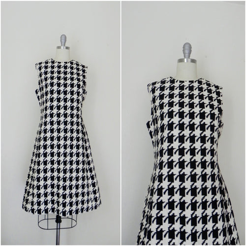 Vintage 1950s Kauffmann's Black White Wool Dress - Vintage World Rocks - 1