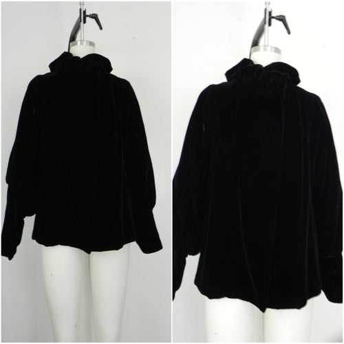 Late 1960s Vintage Black Velvet Jacket/Coat - Vintage World Rocks - 1