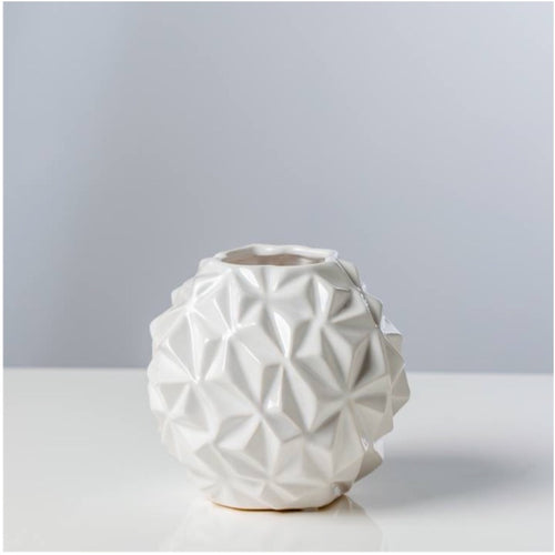 Torre & Tagus White Crumple Ball Vase- Small