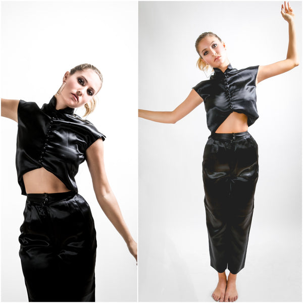 Vintage 1980s Black Acetate Silk Crop Top and Pants Set - Vintage World Rocks - 1