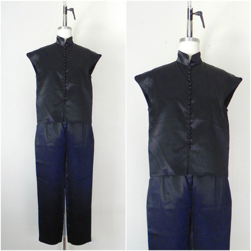 Vintage 1980s Black Acetate Silk Crop Top and Pants Set - Vintage World Rocks - 2