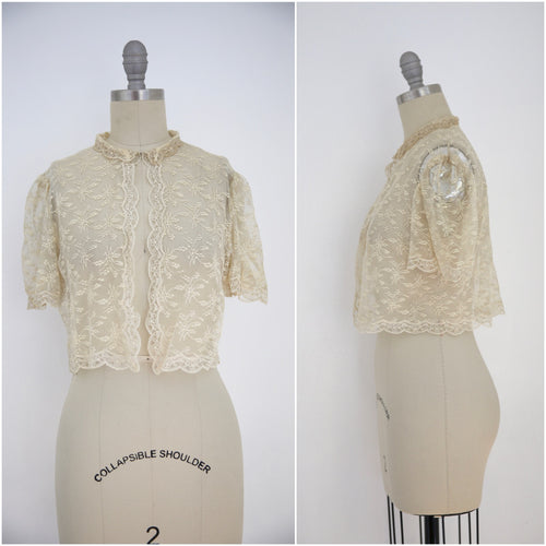 Vintage Edwardian Antique White Lace Blouse - Vintage World Rocks - 1