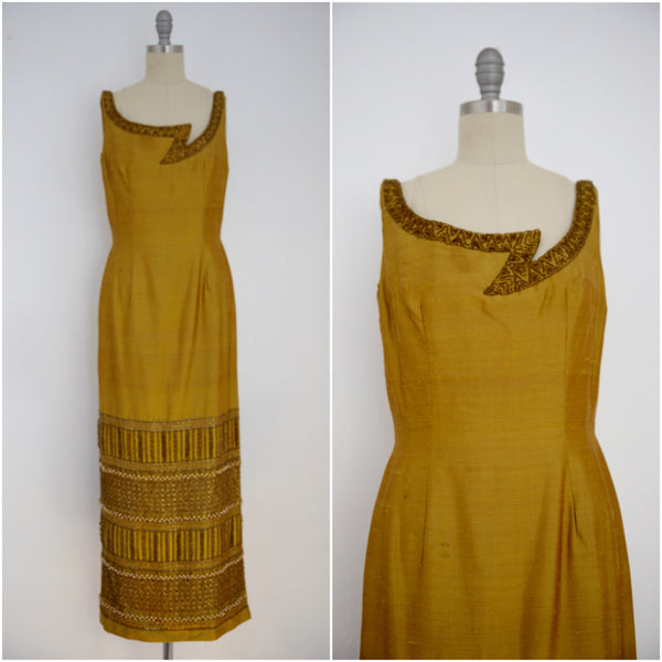 Vintage 1960s-1970s Bruce Arnold LTD Thai Silk Brown Beaded Sleeveless Dress - Vintage World Rocks - 2