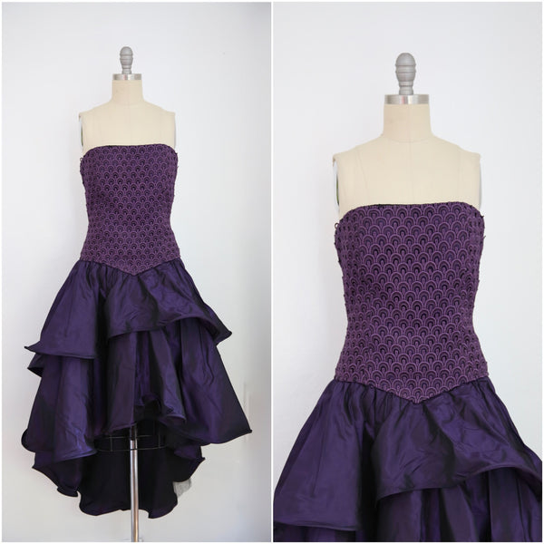 For Rental or Purchase Vintage 1980s Andrea Odicini Couture Purple Taffeta Evening Dress - Vintage World Rocks - 1
