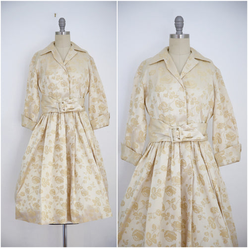Vintage 1960s Gold Floral Dress - Vintage World Rocks - 1
