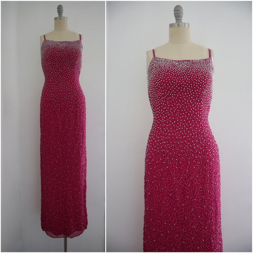 Vintage Fuchsia Backless Sequin Beaded Gown - Vintage World Rocks - 1