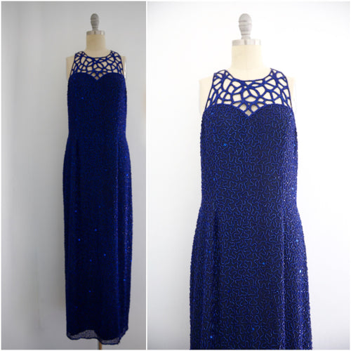 Vintage 1980s Blue Silk Sequin Gown - Vintage World Rocks - 1