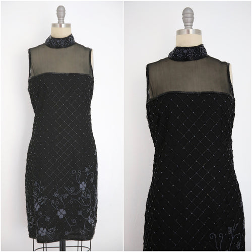 Vintage 1980s Stenay Silk Black Beaded Dress - Vintage World Rocks - 1