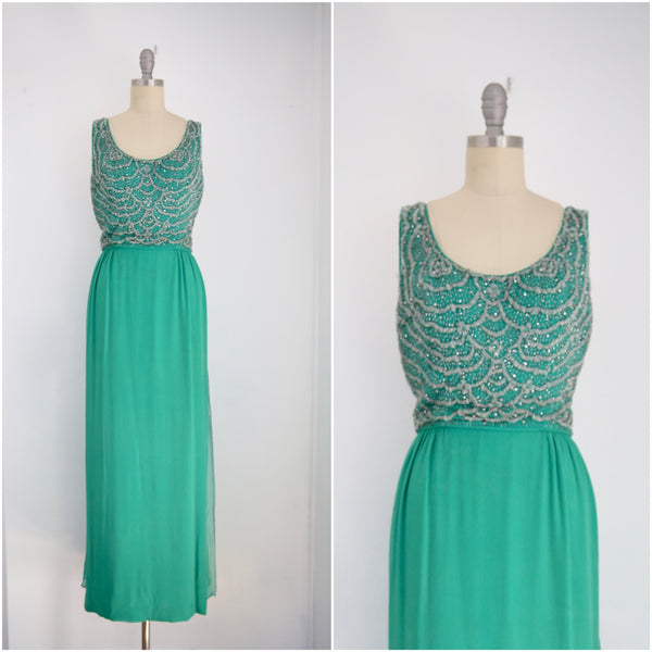 Vintage John Stevens/Highland Park Kelly Green Sleeveless Scoop Neck Gown - Vintage World Rocks - 1