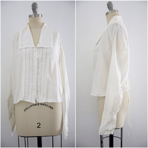 Edwardian Antique Cotton Long Sleeve Blouse Blouse - Vintage World Rocks - 1