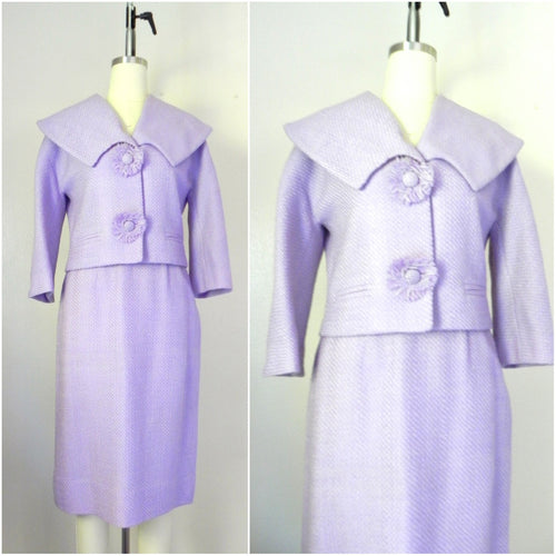 Vintage 1960s Wool Blend Lavender Skirt Jacket Suit Set - Vintage World Rocks - 1