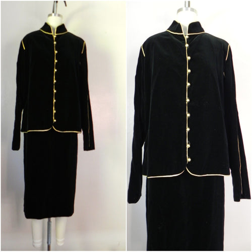 1980s Vintage Victor Costa Black Velvet 2 Piece Jacket and Skirt Set - Vintage World Rocks - 1