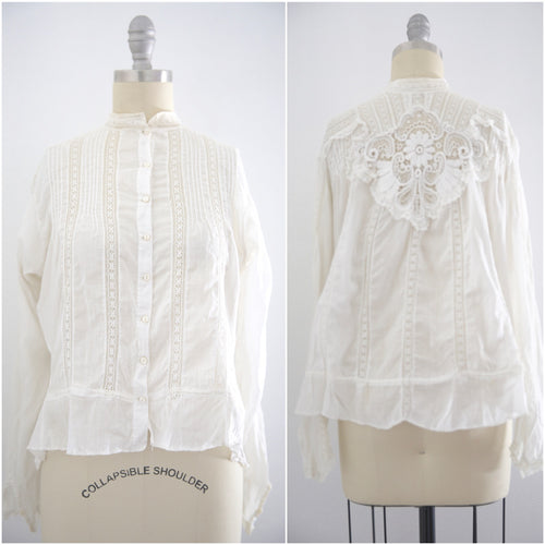 Edwardian Lace Cotton Blouse - Vintage World Rocks - 1