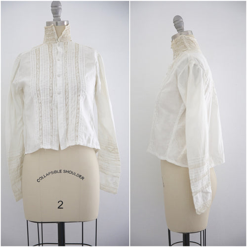 Edwardian Lace Cotton Blouse High Collar - Vintage World Rocks - 7