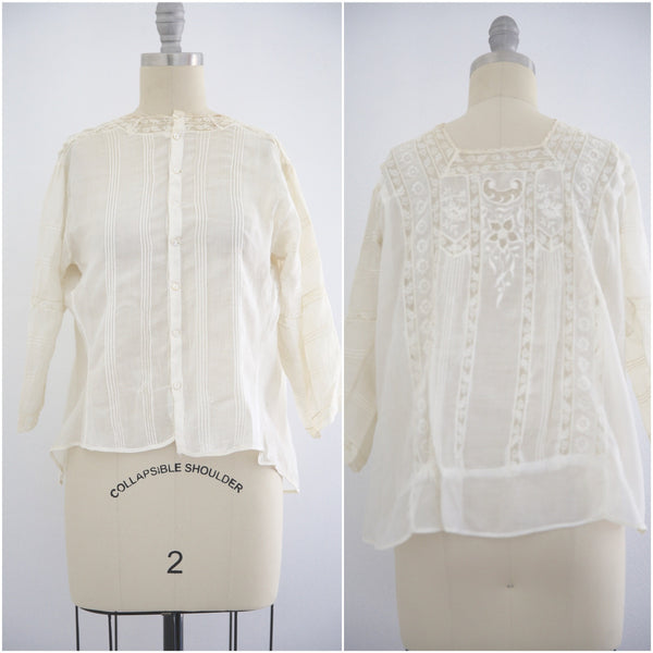 Edwardian Lace Antique Mother of Pearl Blouse - Vintage World Rocks - 1