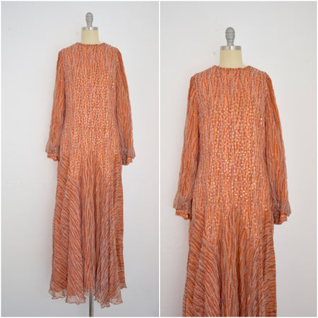 Vintage 1960s Macy's Little Shop Nude Chiffon Illusion Dress