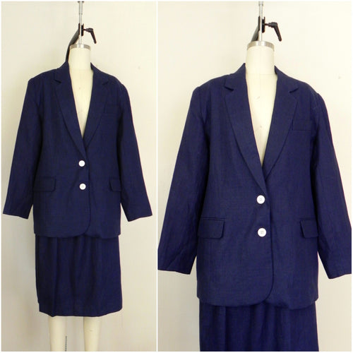 Vintage 1960s Brooks Brother Irish Linen 2 Piece Suit Blazer and Skirt - Vintage World Rocks - 1