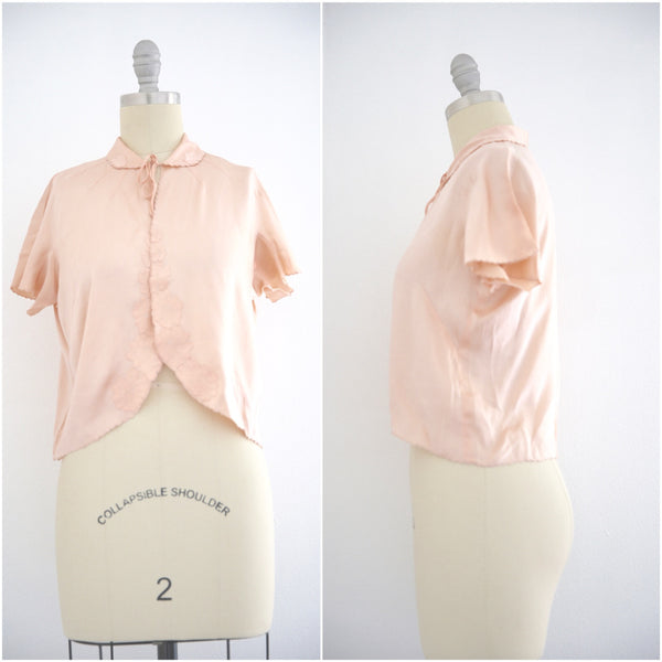 Vintage 1950s Silk Pink Lingerie Top - Vintage World Rocks - 1