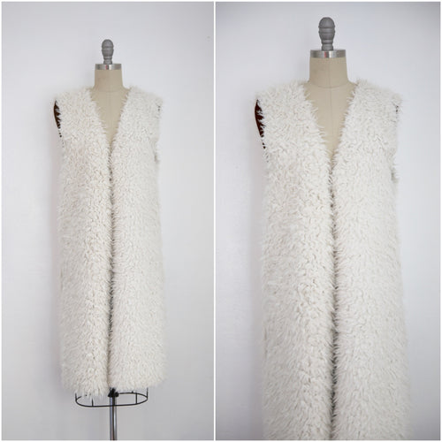 Vintage Ivory Faux Shaggy Fur Reversible Open Vest - Vintage World Rocks - 1
