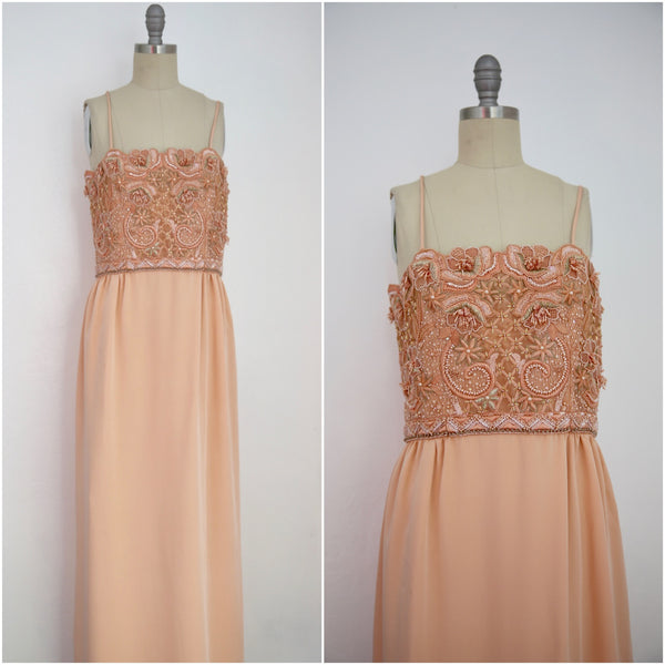Vintage 1980s Beaded Peach Gown - Vintage World Rocks - 1
