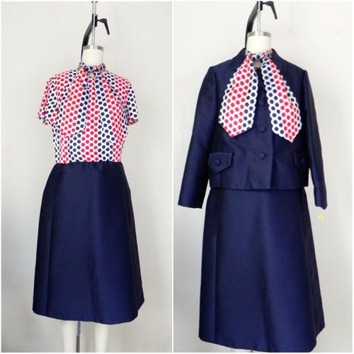Vintage 1950s- 1960s Red Blue Polka Dot Dress with Jacket Suit - Vintage World Rocks - 1