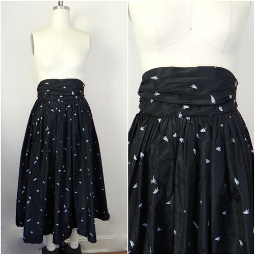 1950s Black Floral Crepe Skirt - Vintage World Rocks - 1
