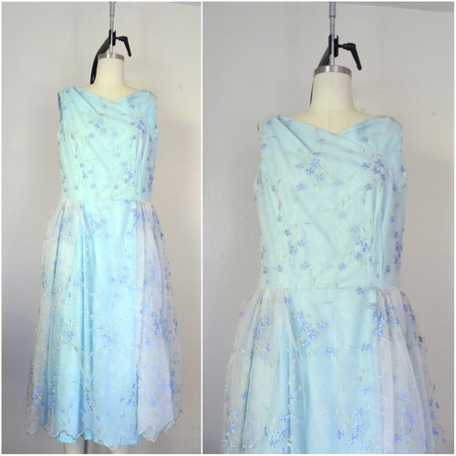 Vintage 1960s Sleeveless Baby Blue Floral Dress - Vintage World Rocks - 1