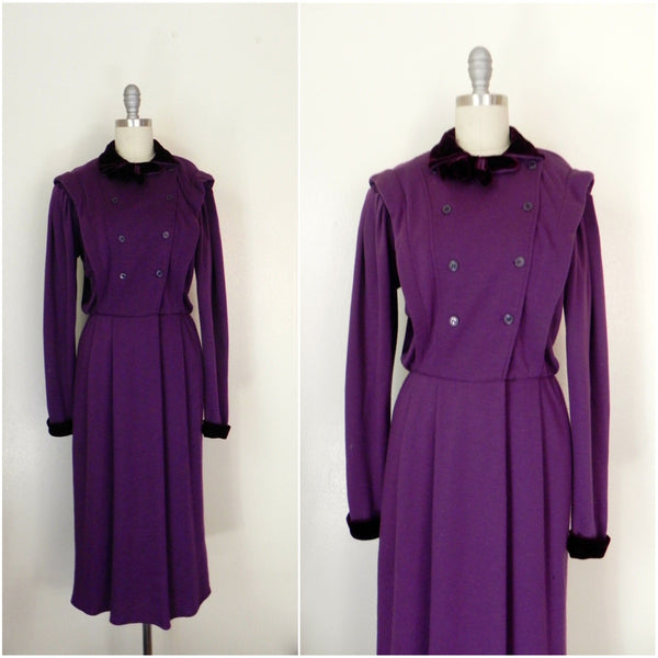 Vintage 1980s Purple Long Sleeve Dress - Vintage World Rocks - 1