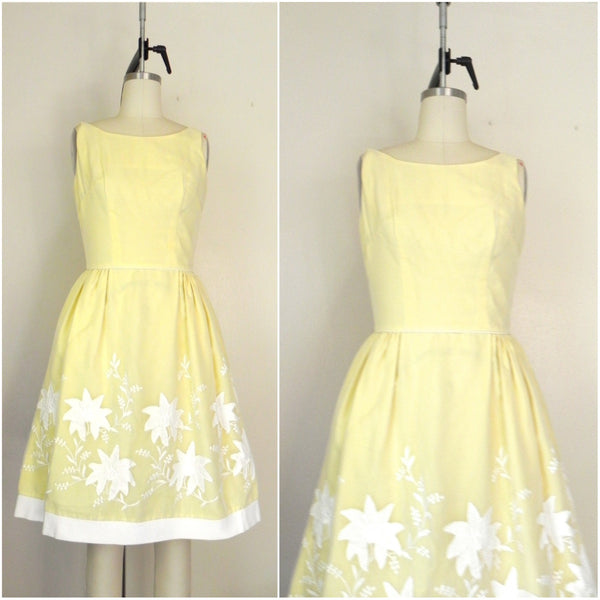 Vintage 1950s Yellow Floral Dress - Vintage World Rocks - 1