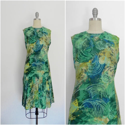 Vintage 1960s Italian Handmade Green Print Dress - Vintage World Rocks - 1