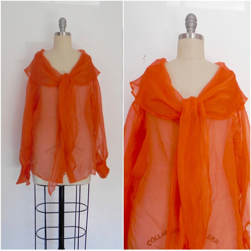 Vintage 1980s Italian Orange Silk Top - Vintage World Rocks - 1