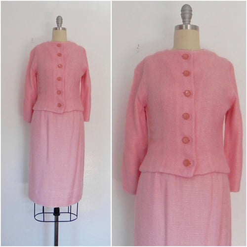 Vintage 1960s Pink 2 Piece ANR JR Jacket and Skirt Set - Vintage World Rocks - 1