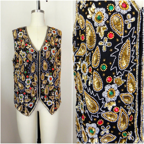 Vintage 1970s Laurence Kazar Beaded Silk Vest - Vintage World Rocks - 1
